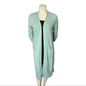 Tahari Blue Extra Fine Merino Wool Open Cardigan L